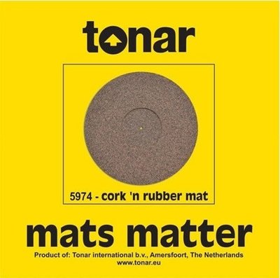 Tonar Pure Cork end Rubber turntable mat